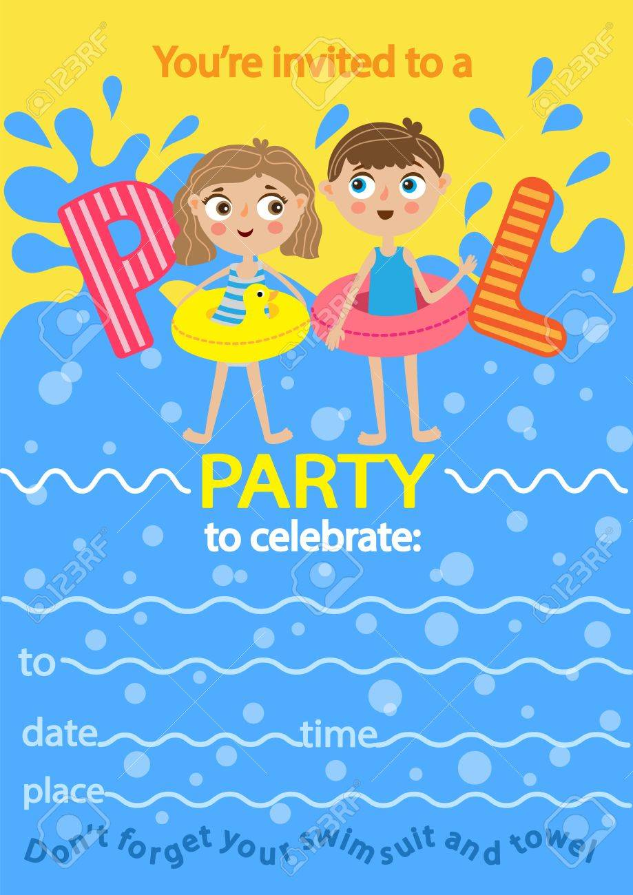 Pool Party. Invitation Template Card. Kids Fun In Pool Royalty Free ...