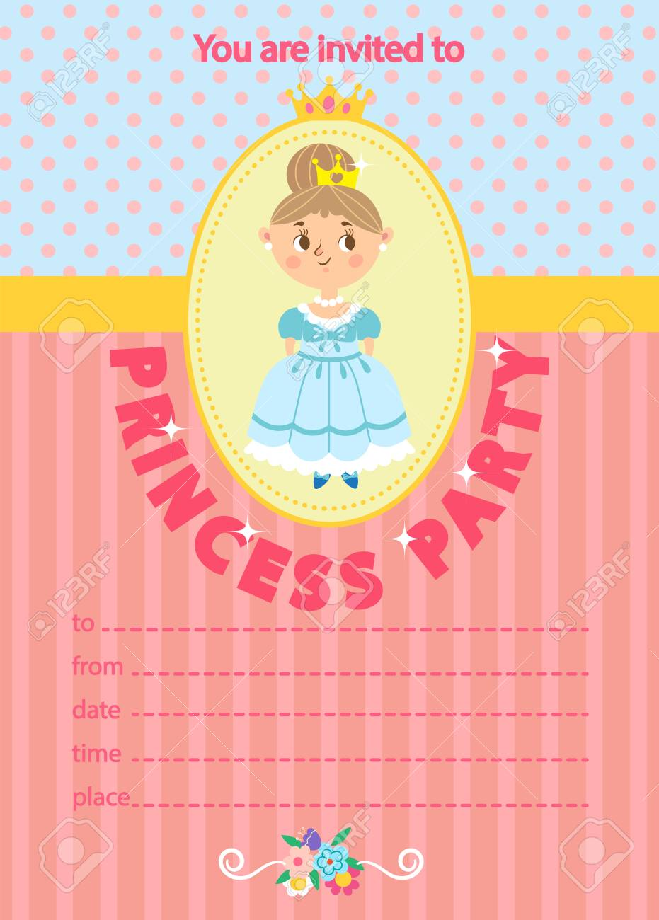 Princess Birthday Party. Invitation Template Card. Kids Fun In ...