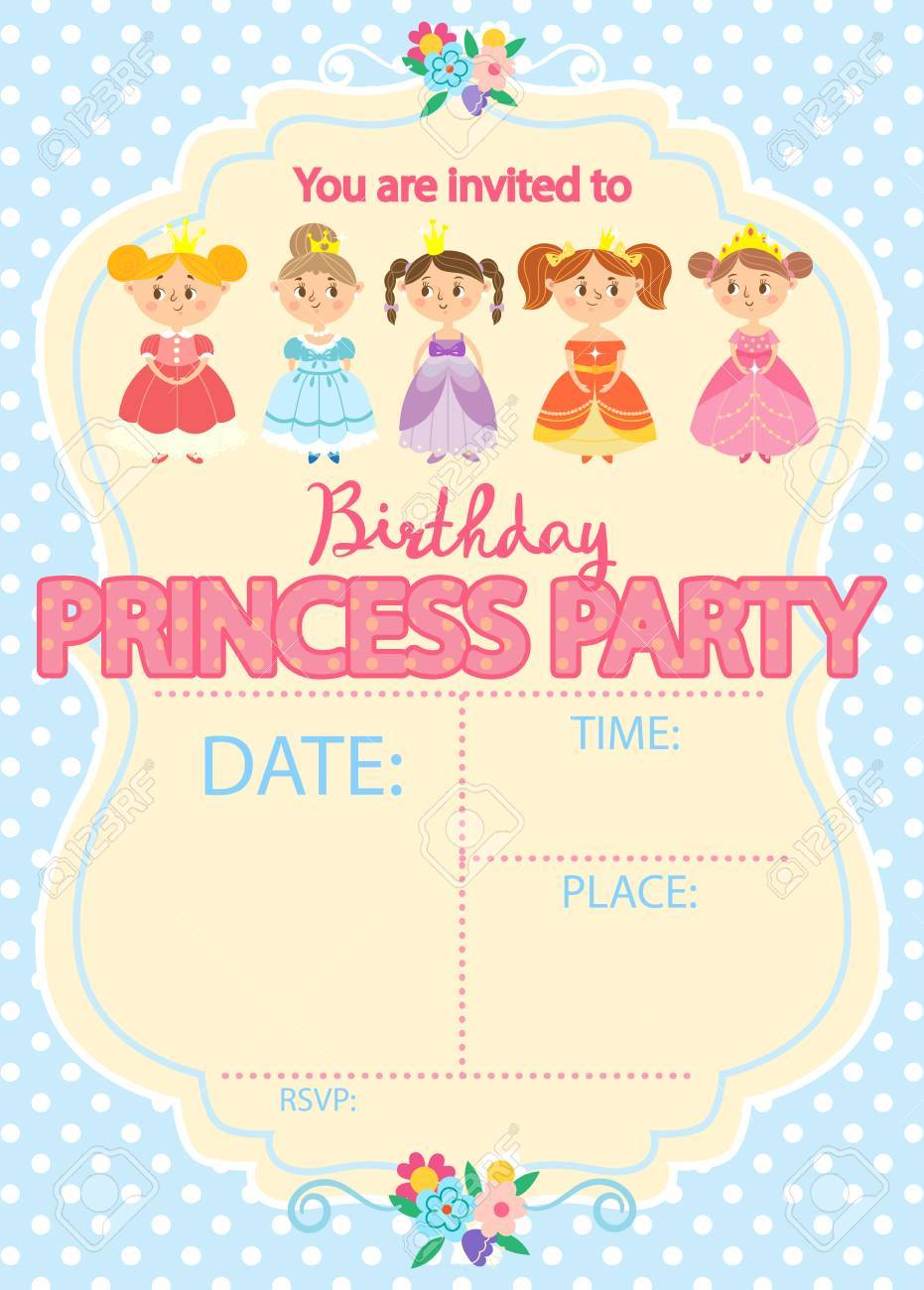 Princess birthday party invitation template card royalty free princess birthday party invitation template card stock vector 69466902 filmwisefo