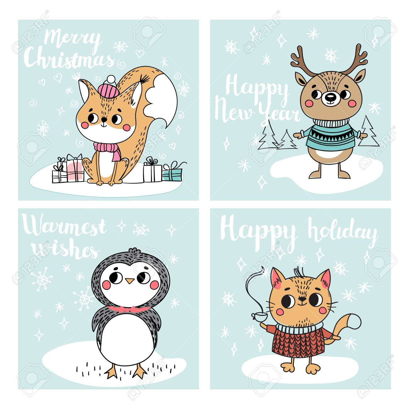 Lustige Weihnachtspersönlichkeiten. Weihnachtsfiguren Tiere. Sammlung mit  Weihnachtskarten