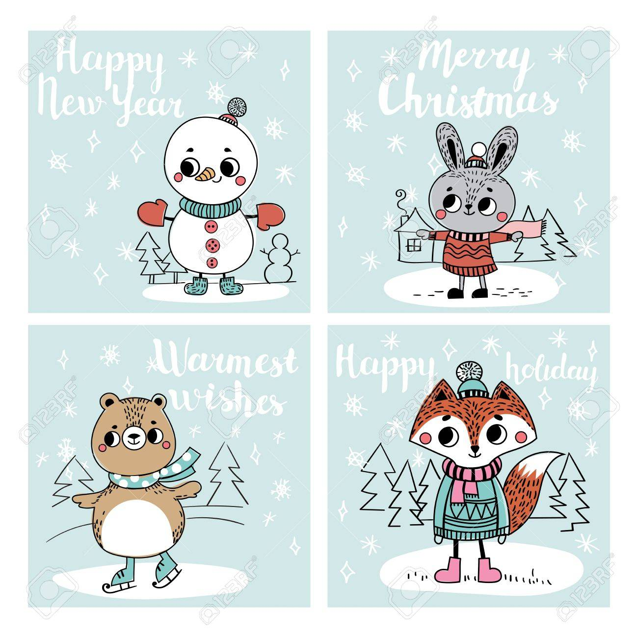 Funny Christmas Personages. Christmas Characters Animals. Collection ...