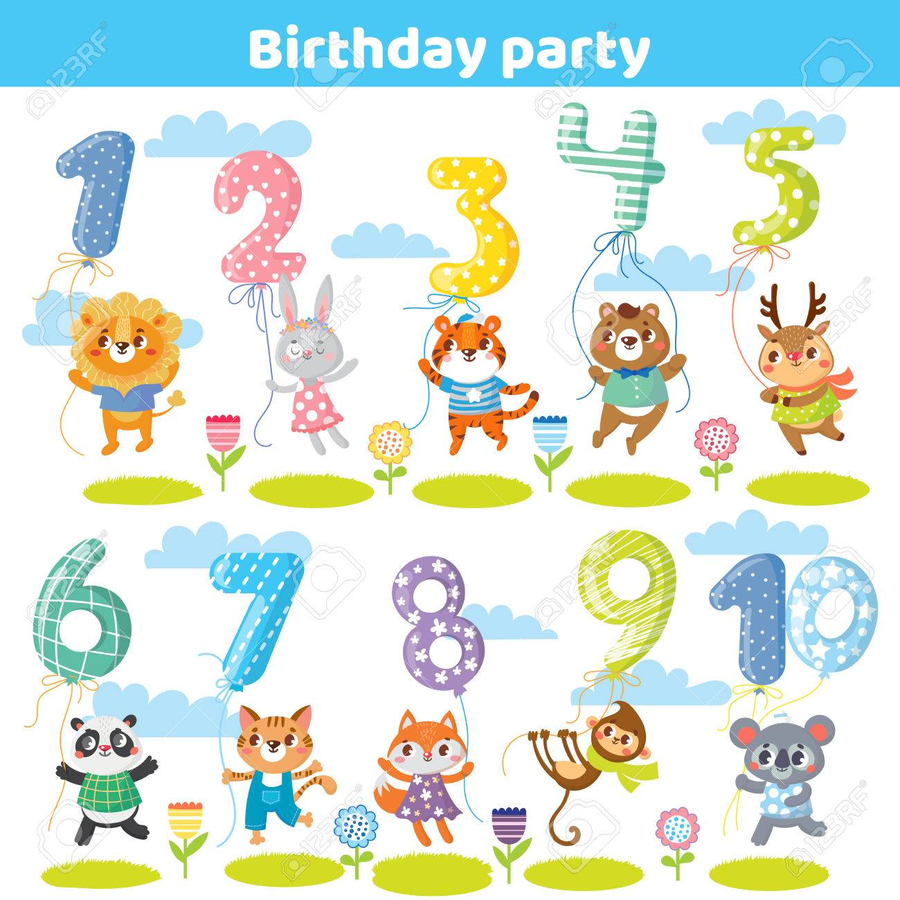 Birthday numbers with funny animals for invitation card royalty free banco de imagens birthday numbers with funny animals for invitation card stopboris Images