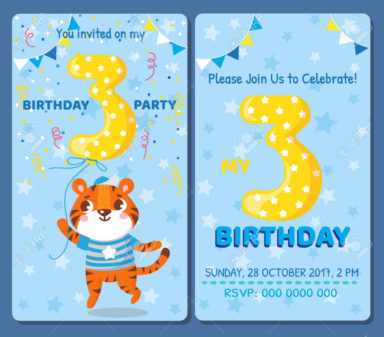 Birthday Invitation Card With Cute Animal Birthday Party Tiger
