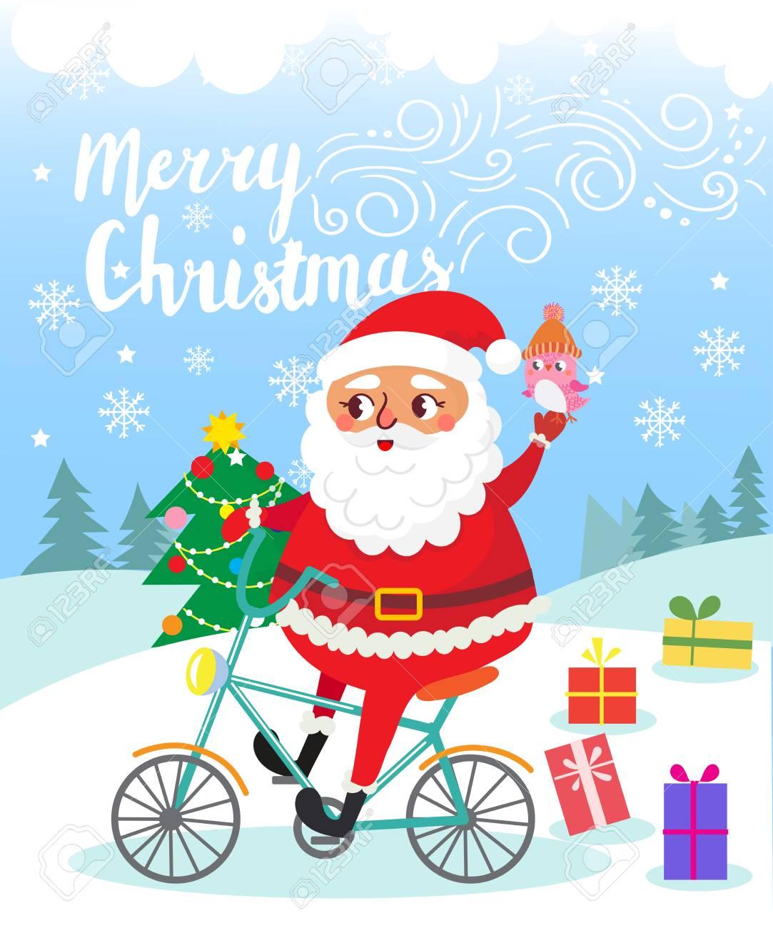 Fröhliche Weihnachten. Santa Claus Auf Fahrrad Mit Geschenken ...
