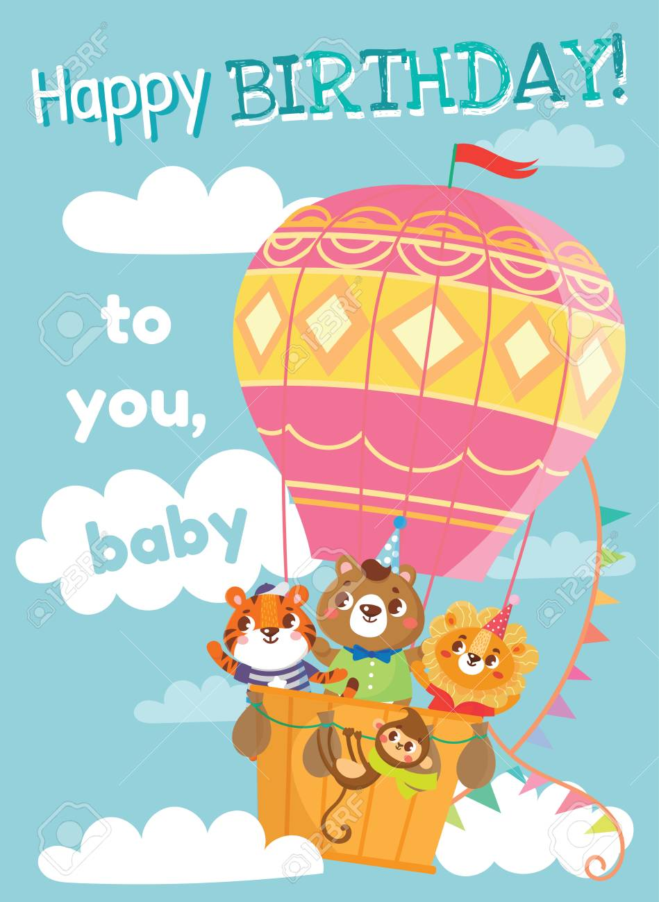 Birthday greeting cards with cute animals funny animals on hot birthday greeting cards with cute animals funny animals on hot air balloon vector illustration bookmarktalkfo Choice Image