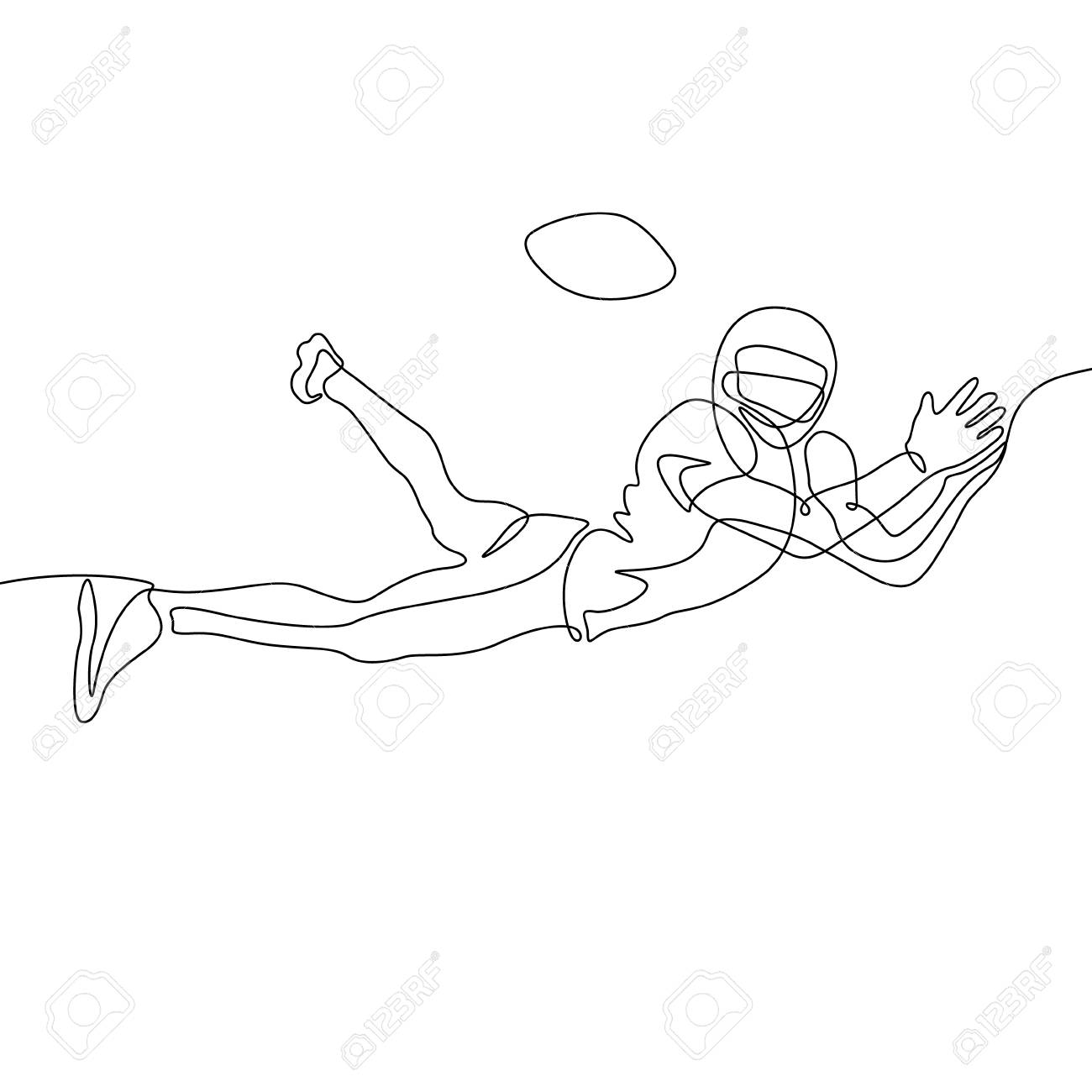 Continuous One Line Drawing American Football Player Jump To