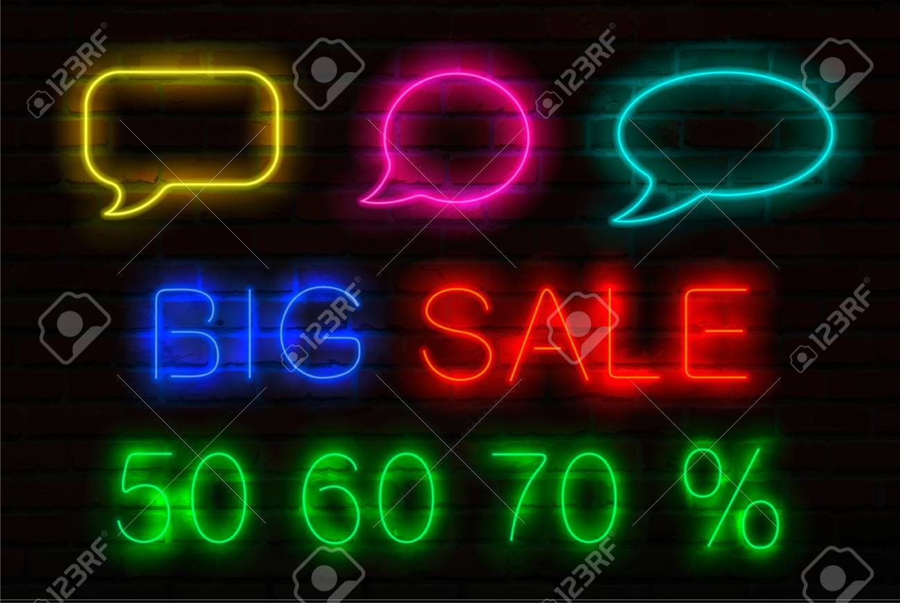 Neon Signs For Sale >> Set Of Neon Signs With Luminous For Sales Speech Bubbles Title