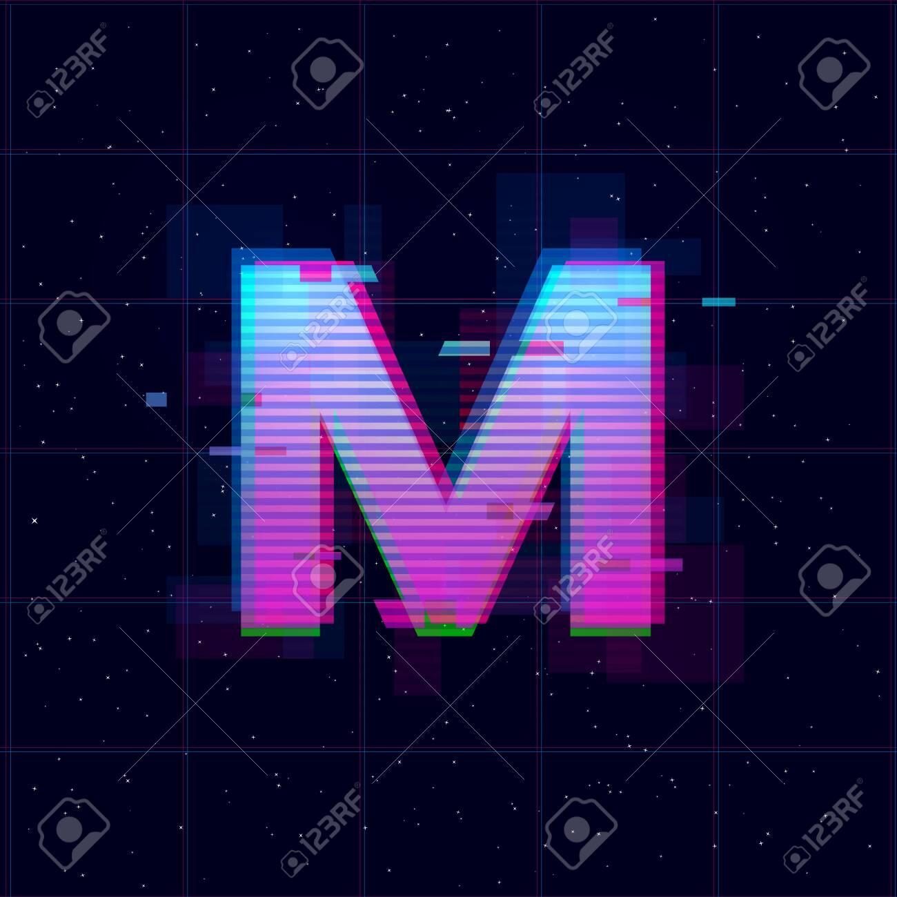 Synthwave Vaporwave Retrowave M Letter Retrowave Design With