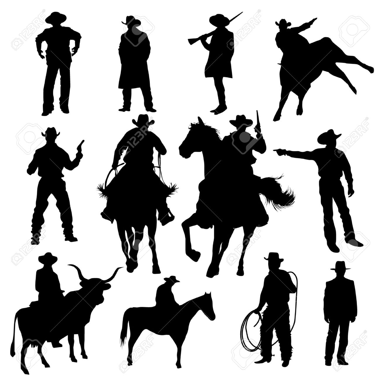 Set of cowboy silhouettes Stock Vector - 20284536