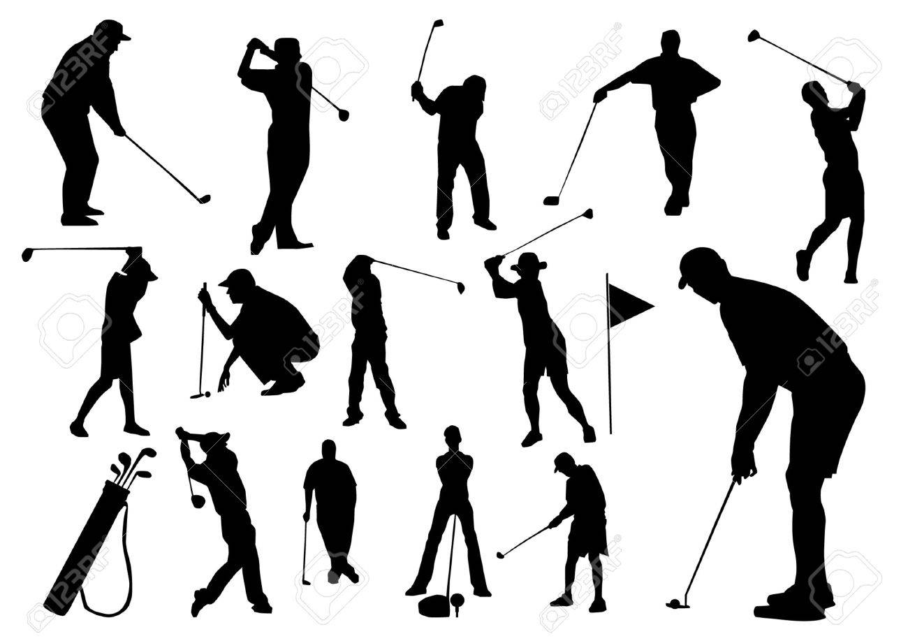 Set Of Golf Players Silhouettes Royalty Free Cliparts Vectors And