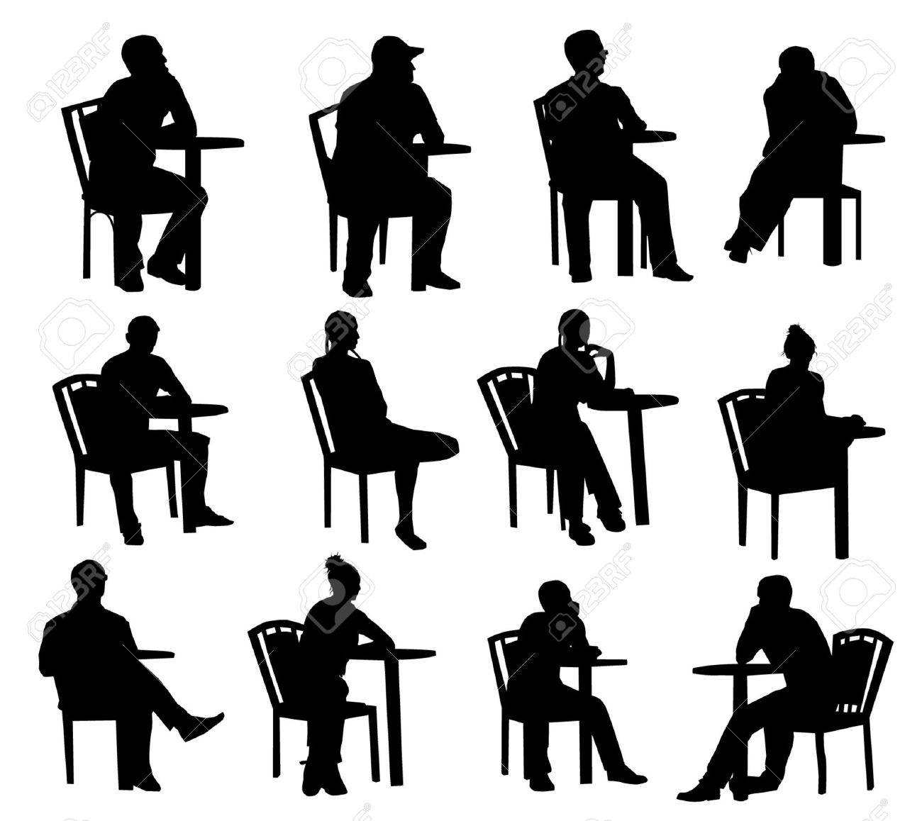 Sitting Silhouettes Royalty Free Cliparts, Vectors, And Stock ...
