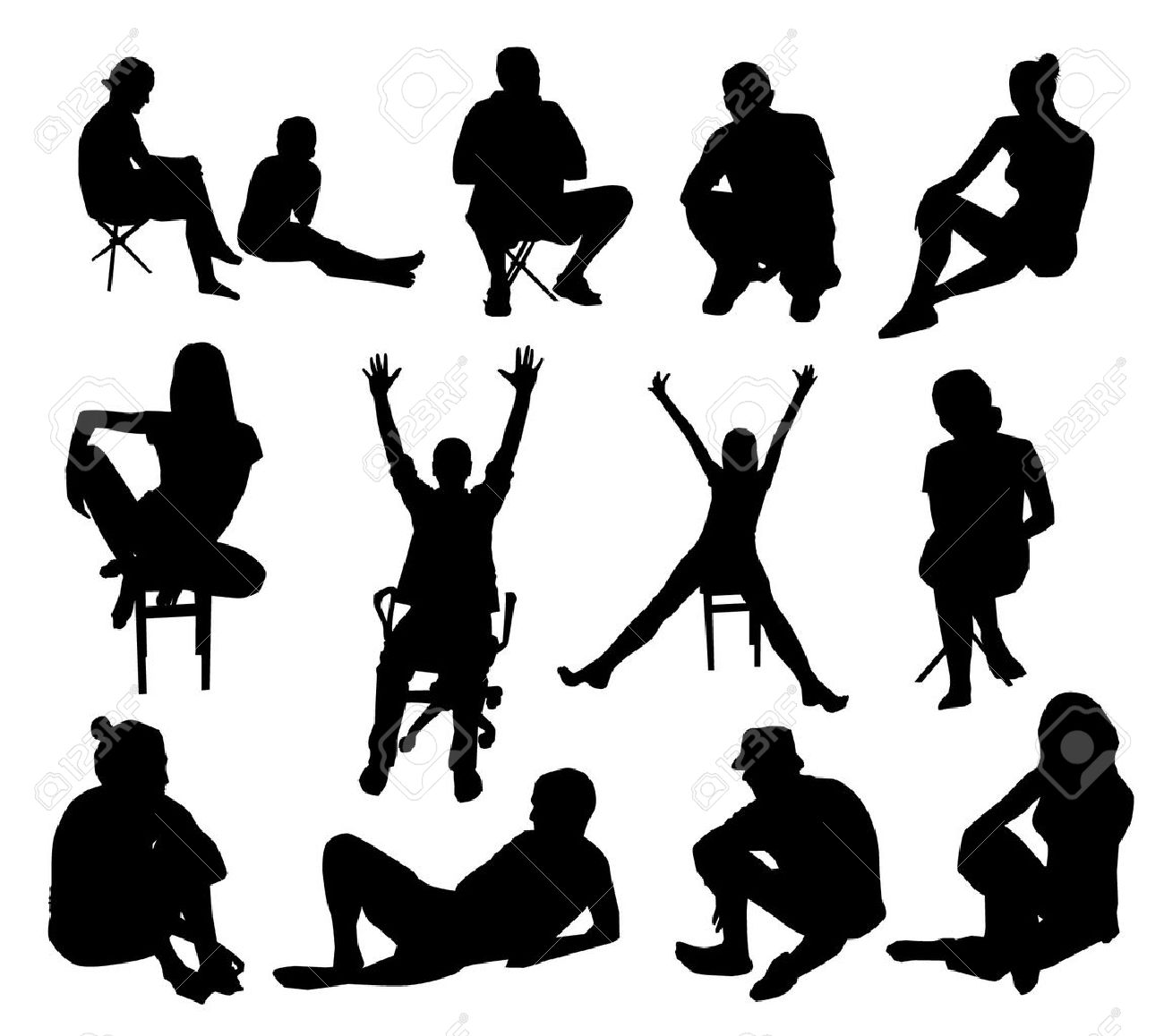 Set of sitting people silhouettes - 20735131