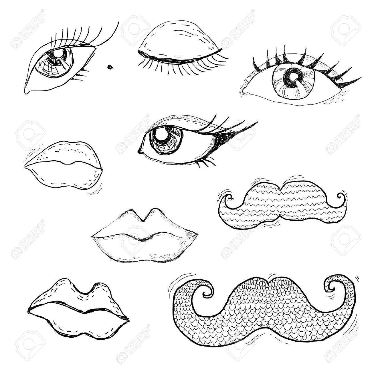 Cartoon Eyes Lips And Mustache Royalty Free Cliparts Vectors
