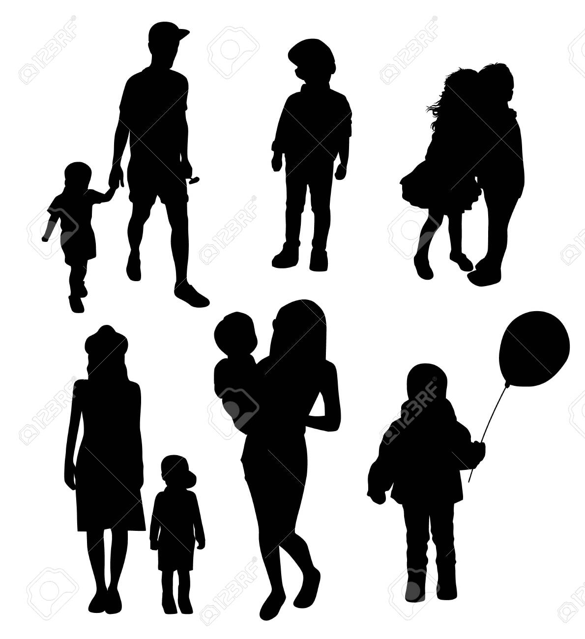 set of silhouettes of women mothers with children, vector. Mothers day concept. - 121518021