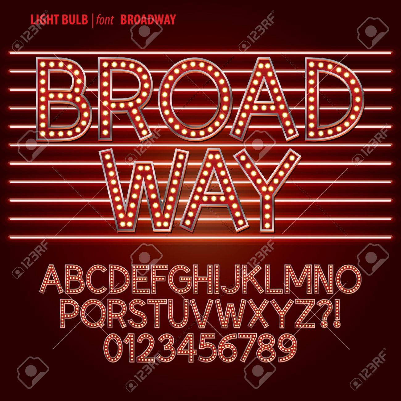 Red Broadway Light Bulb Alphabet and Digit Vector Stock Vector - 25438850