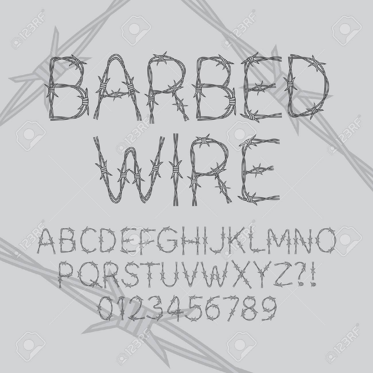 Barbed Wire Font And Numbers Royalty Free Cliparts, Vectors, And ...
