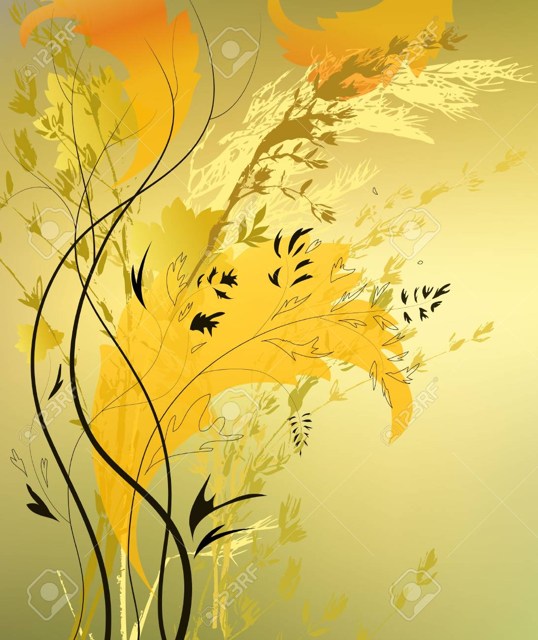 abstract background with branch and sheet Stock Vector - 10222031