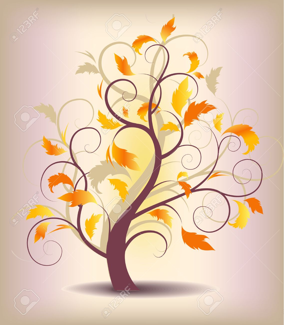 abstract background autumn tree with yellow leaves Stock Vector - 10294459
