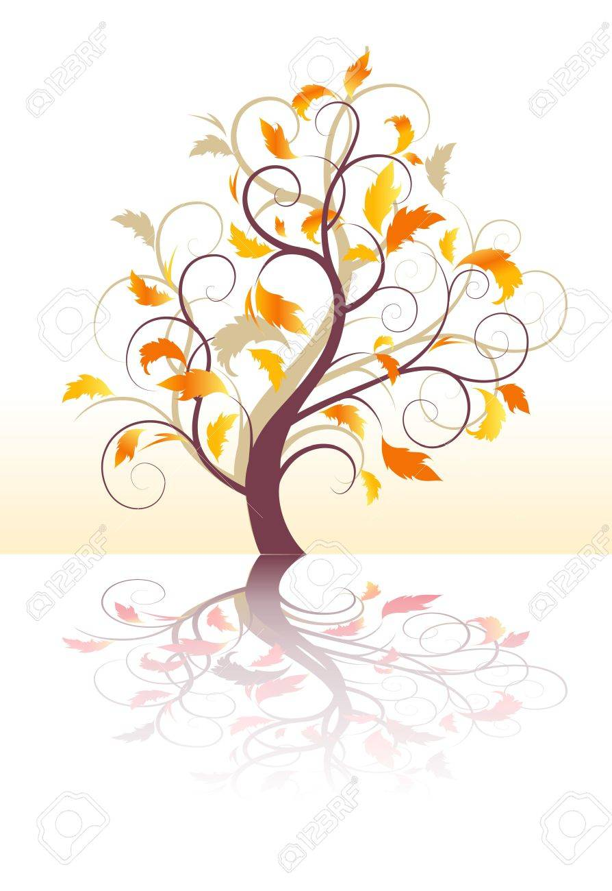 abstract background autumn tree with and yellow leaves Stock Vector - 10294458