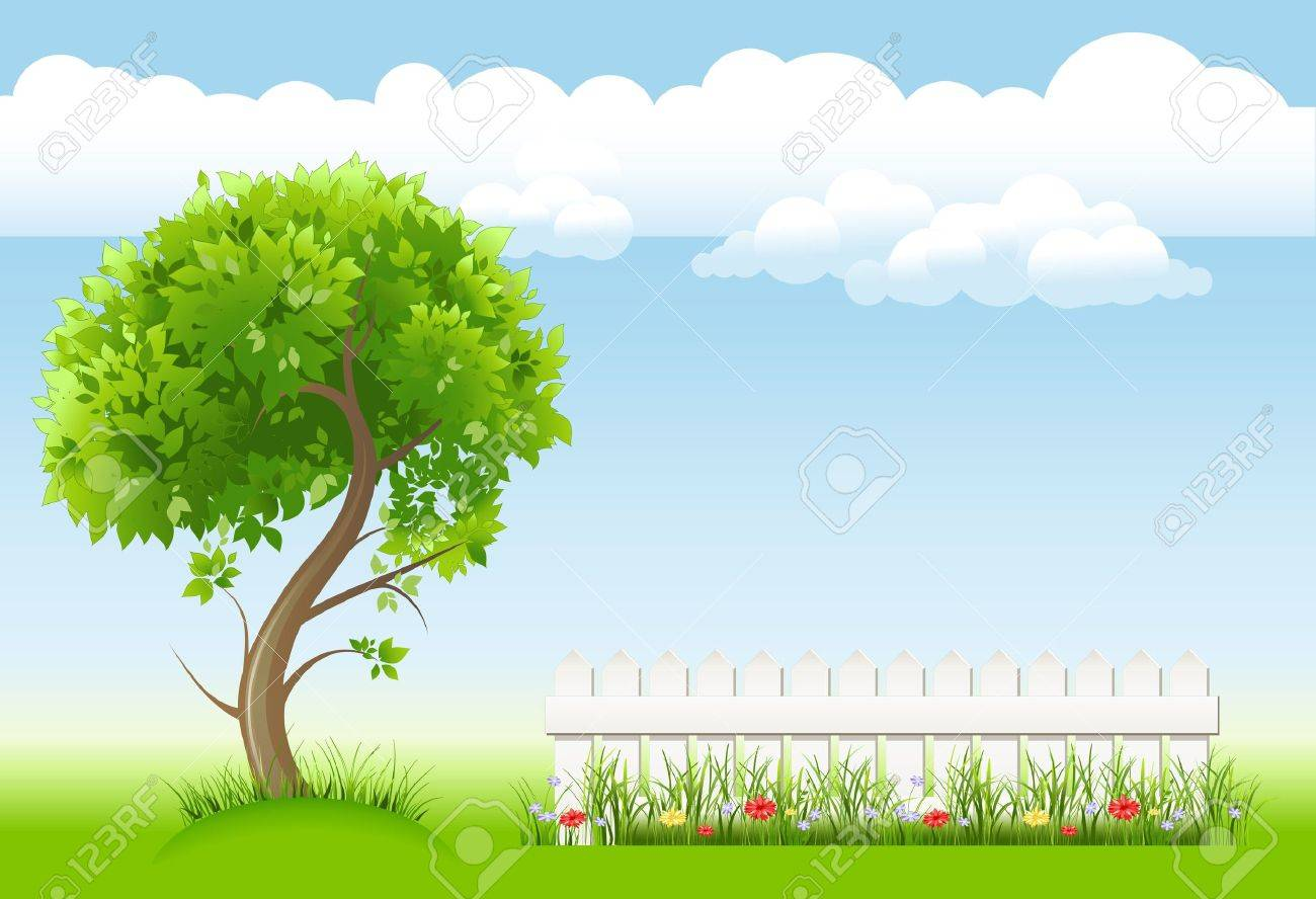 summer garden with tree, flower and light railing - 11408276