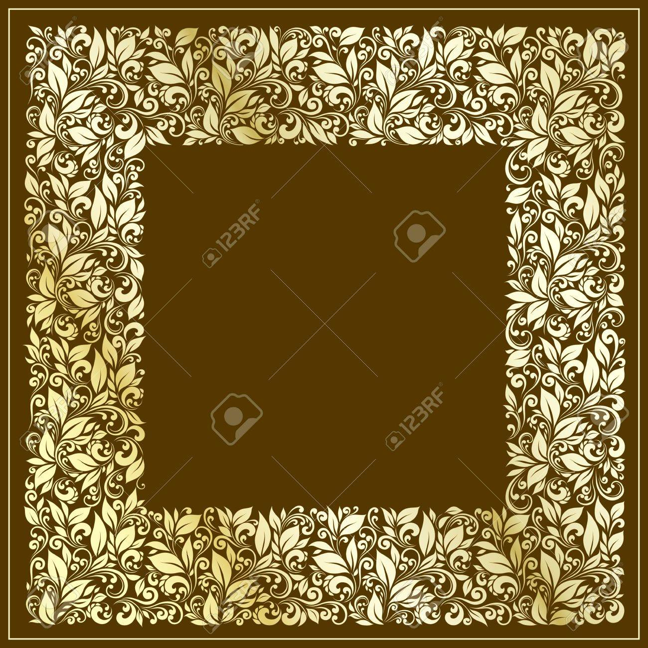 square frame from floral pattern in vintage style - 12422968