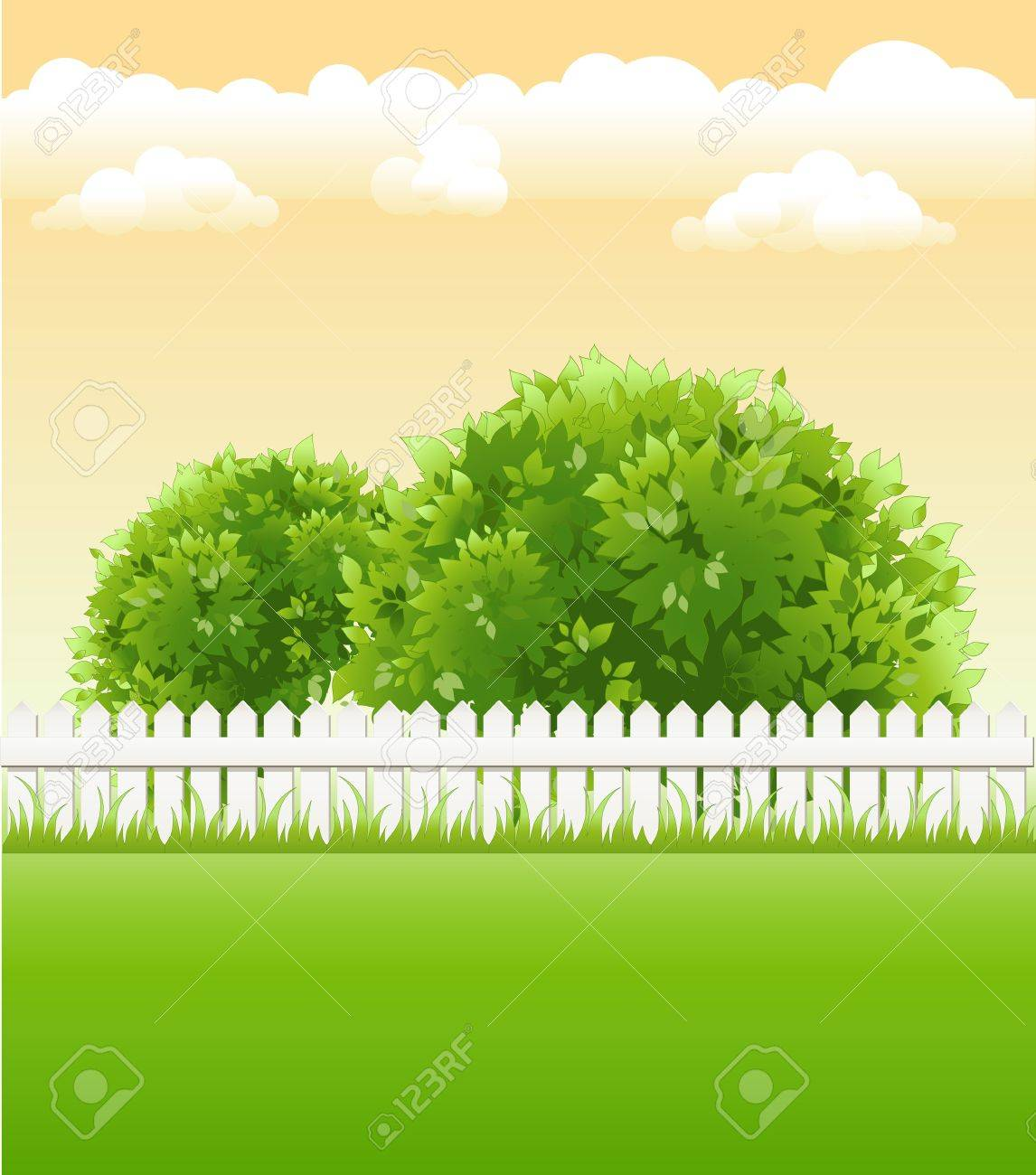 summer garden with tree and light railing - 12422964