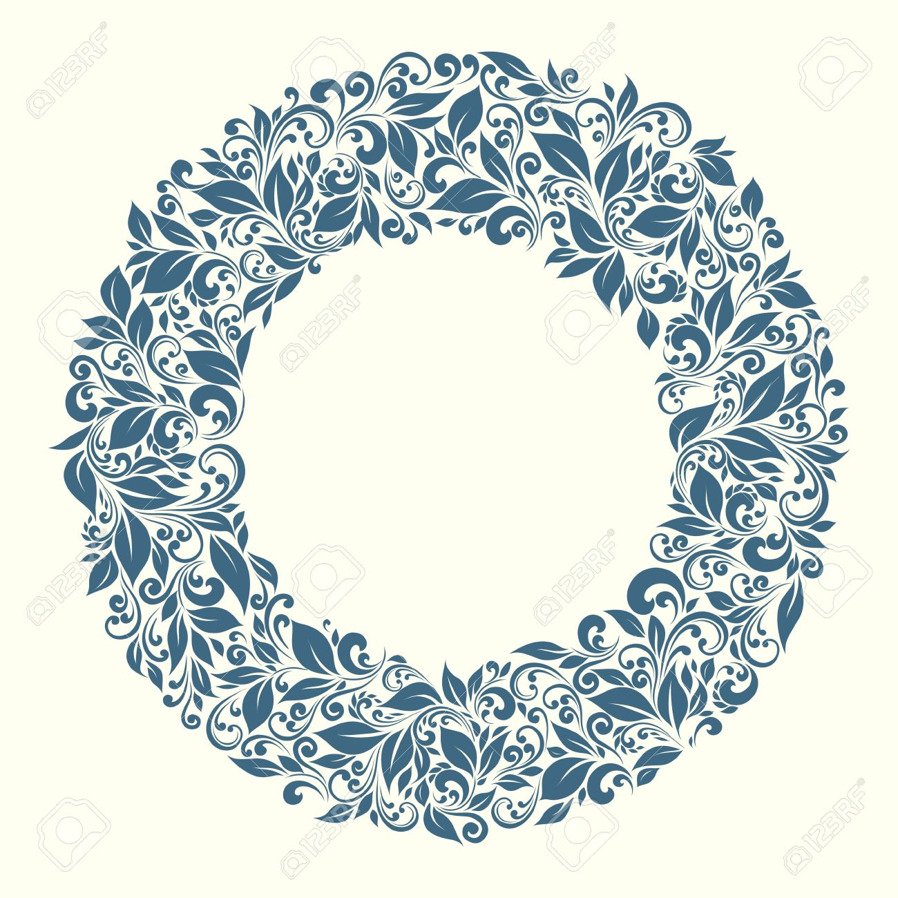 round frame from floral pattern in vintage style - 12422970