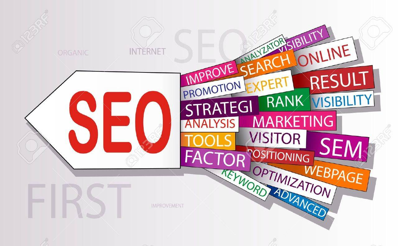 Words in a wordcloud related to SEO - search optimization concept - 12423136