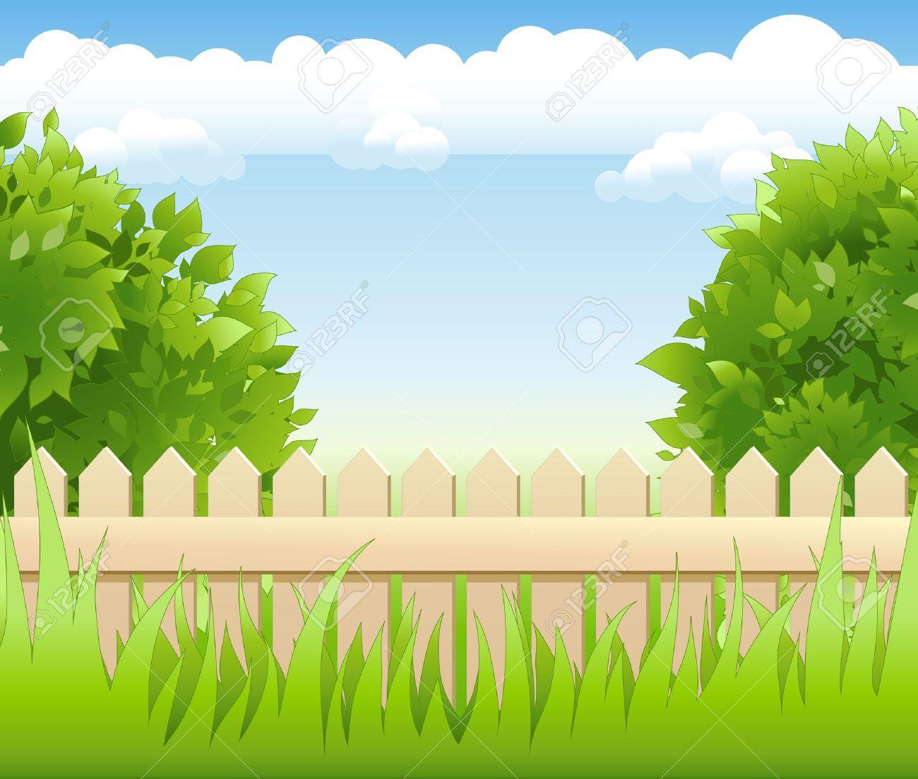 Summer Garden With Tree Light Railing Stock Vector   12480559
