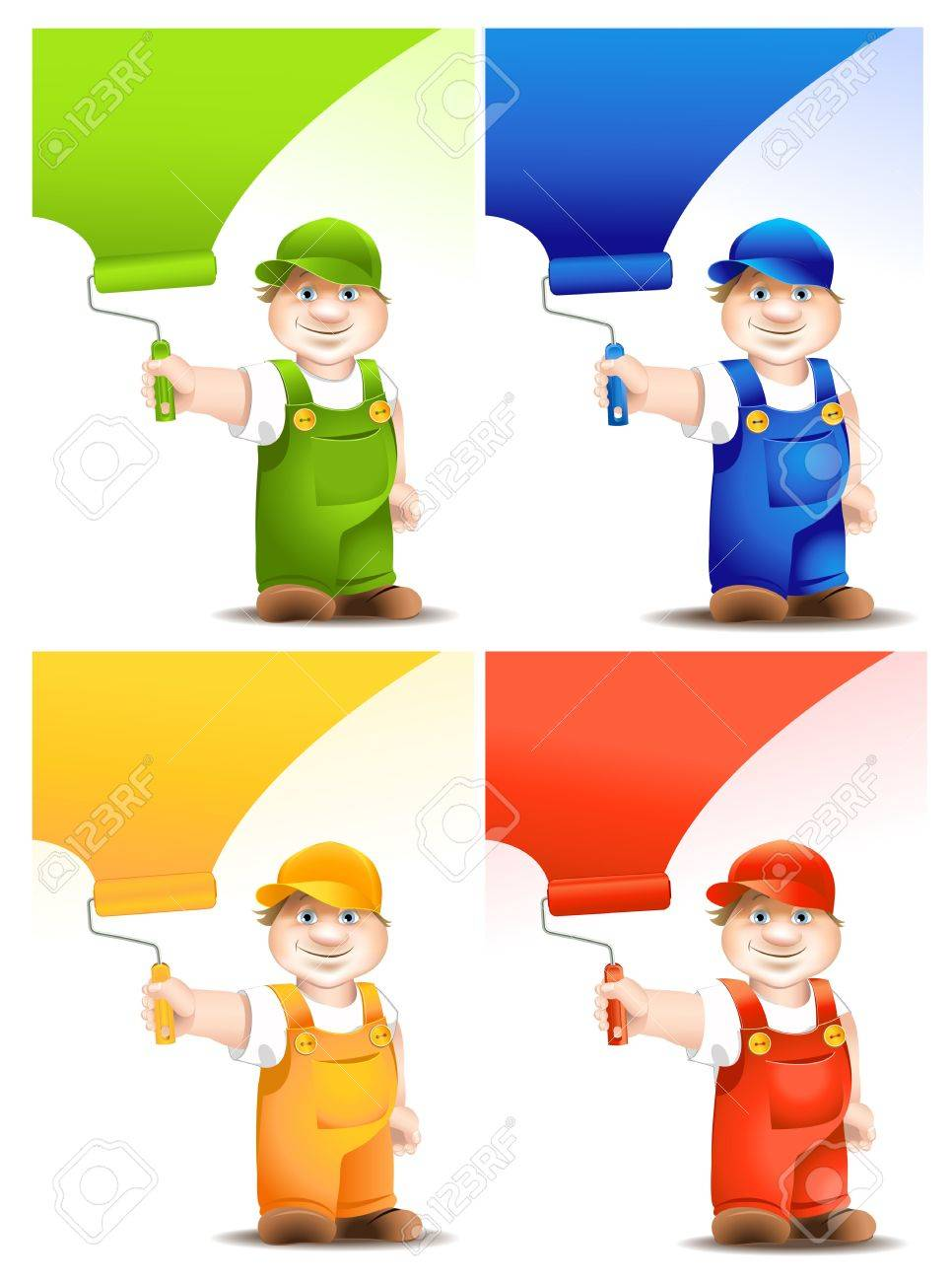 worker cartoon with platen dyes surface - set - 12480568