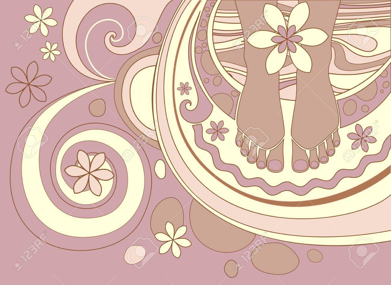 abstract background with foot treatment and floral Stock Vector - 12480561