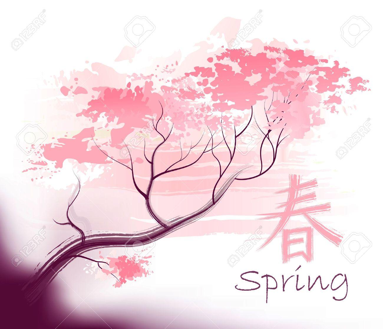 Hermosa Sacura Primavera Rama De Un árbol De Cerezo En Flor Con El