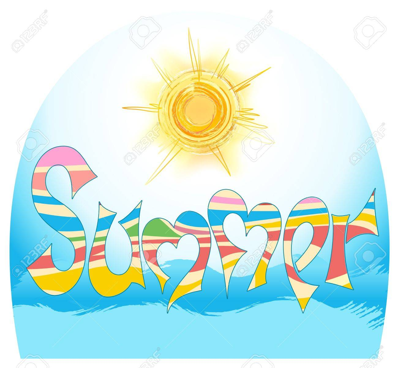 word summer in style graphites, with stylized sun and by sea - 12789037