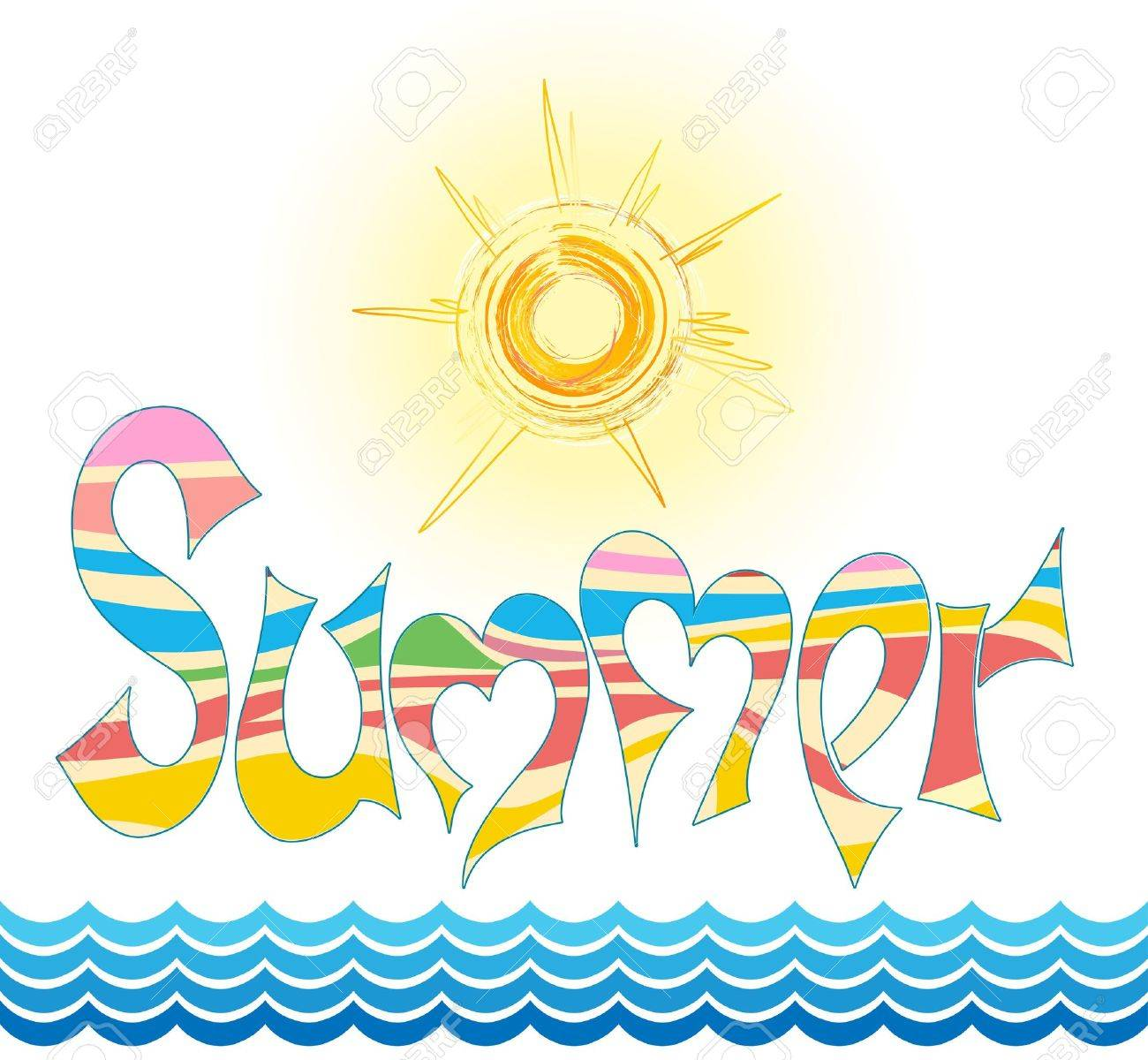 word summer in style graphites, with stylized sun and by sea - 12789036