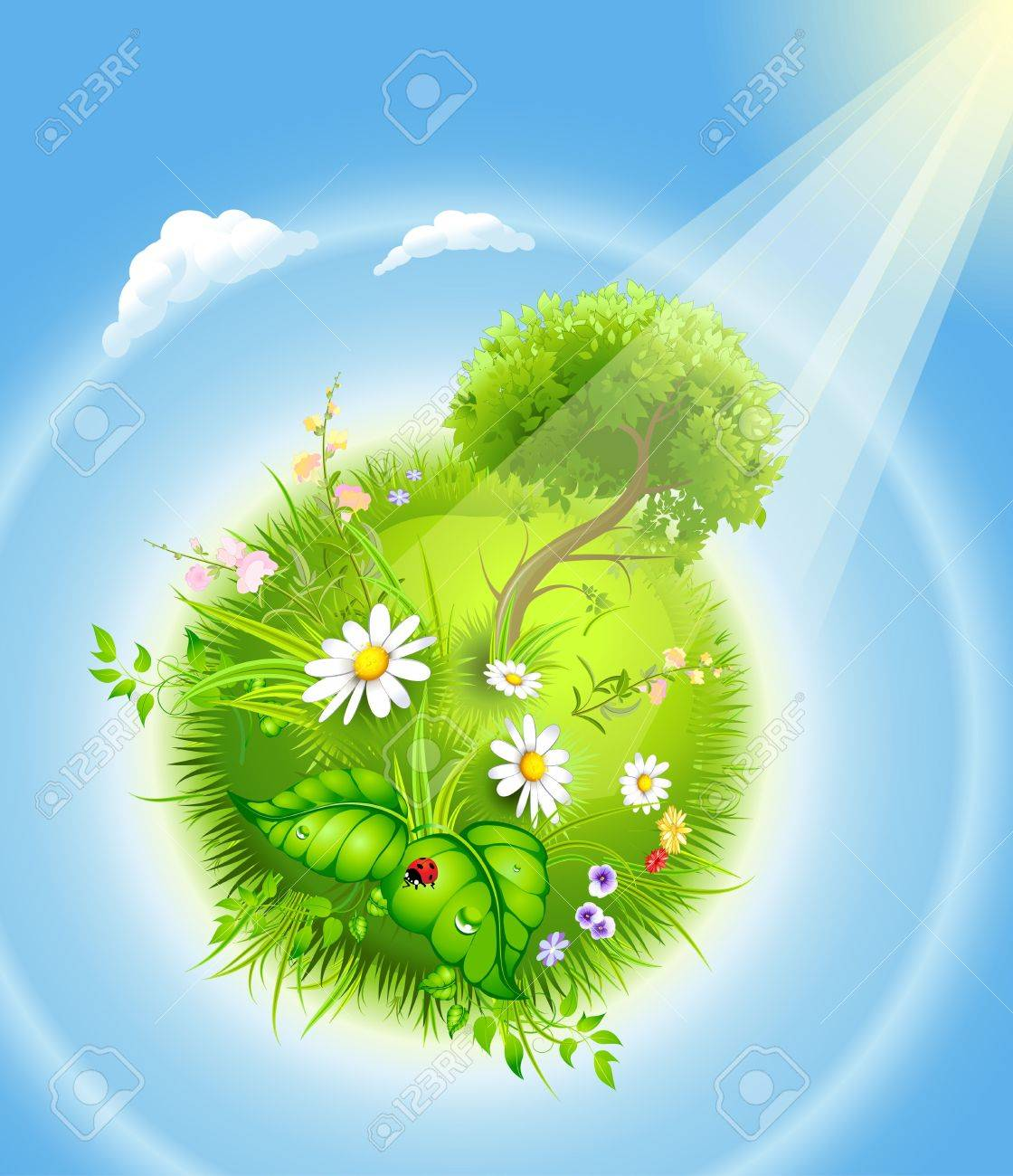 cartoon blossoming globe with a green tree and grass - 12991007