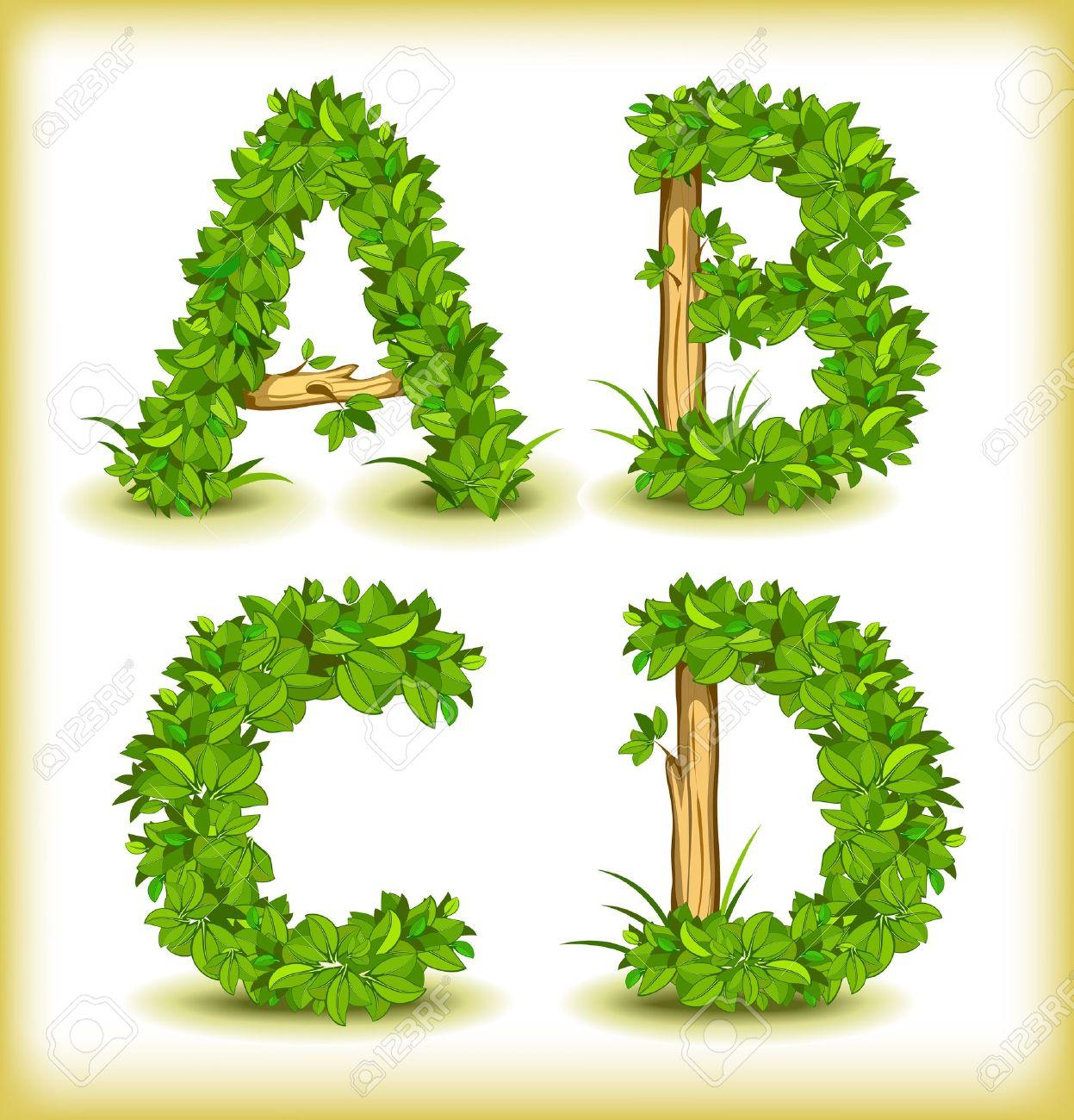 green tree alphabet font - 15652227