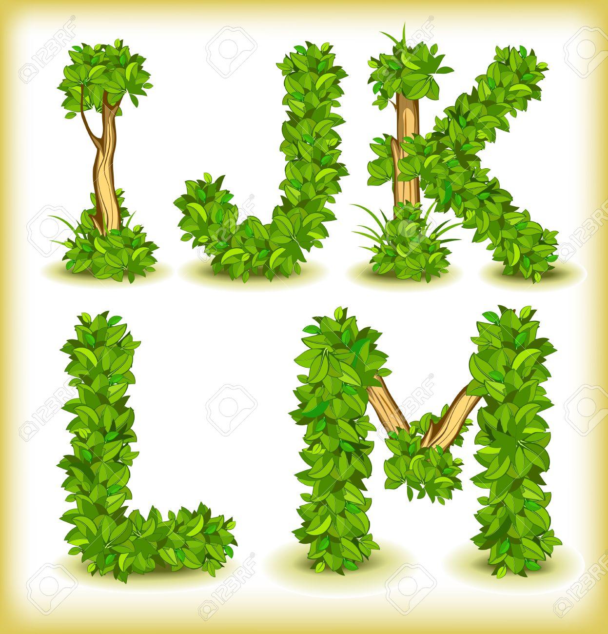 green tree alphabet font - 15698320