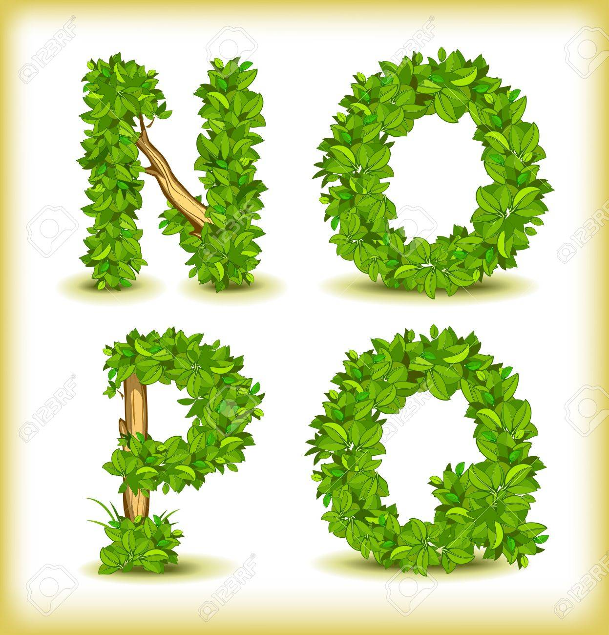 green tree alphabet font - 15698318