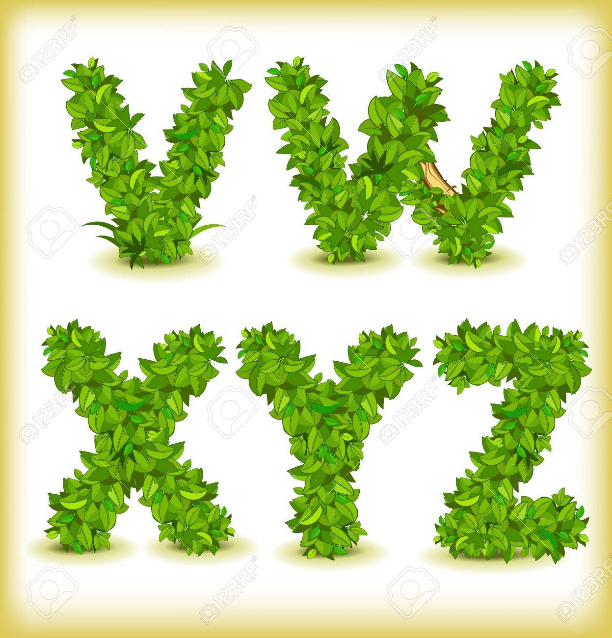 green tree alphabet font - 15698319