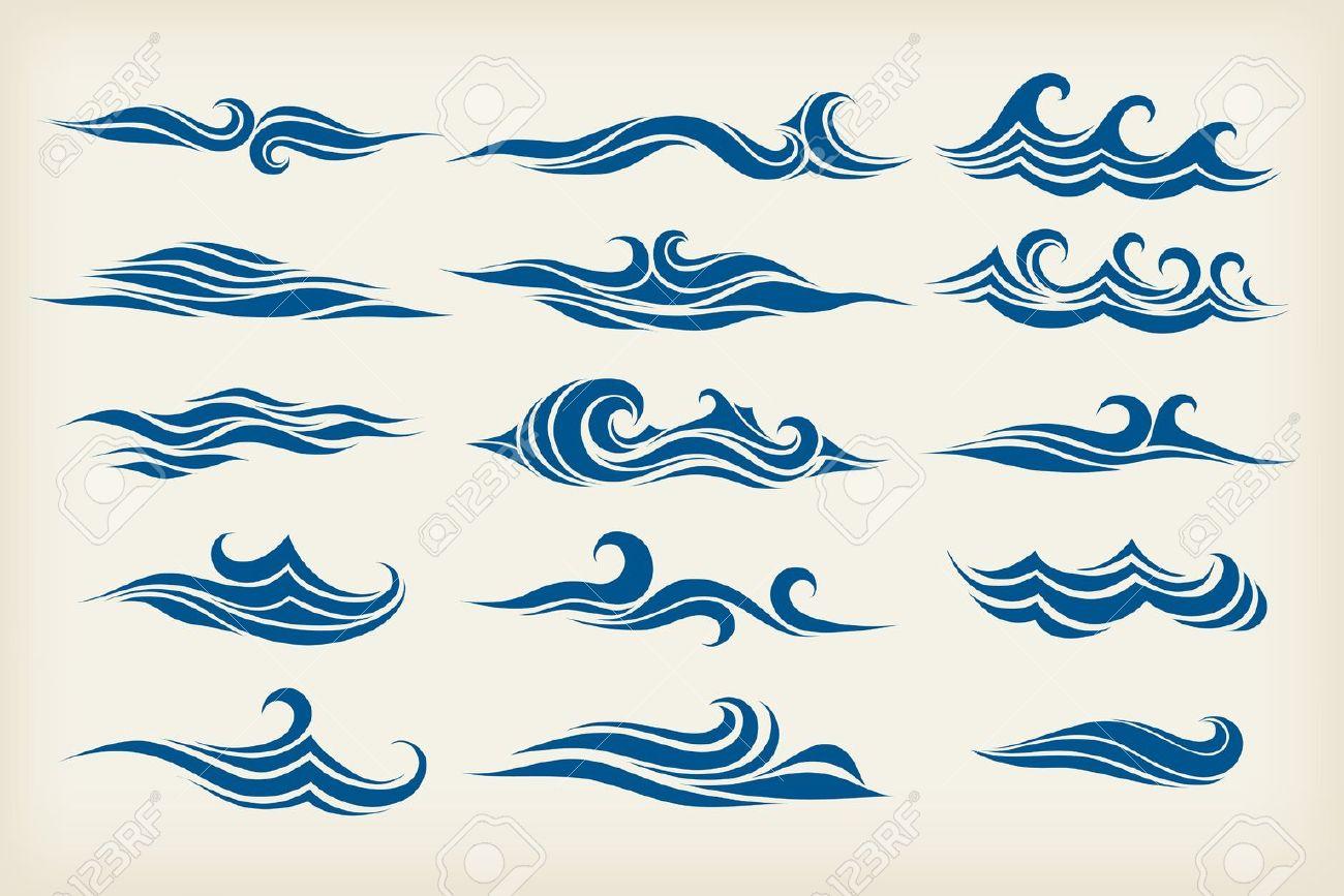 Regle De Vagues De La Mer Dessin Stylise Clip Art Libres De Droits