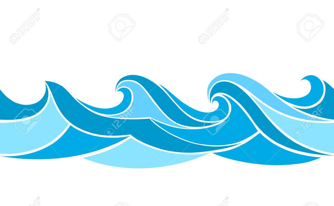 Seamless pattern with stylized waves - 19878039