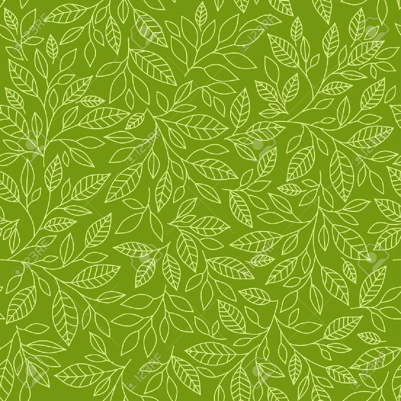 Seamless pattern of stylized leaves on a green background - 19878048