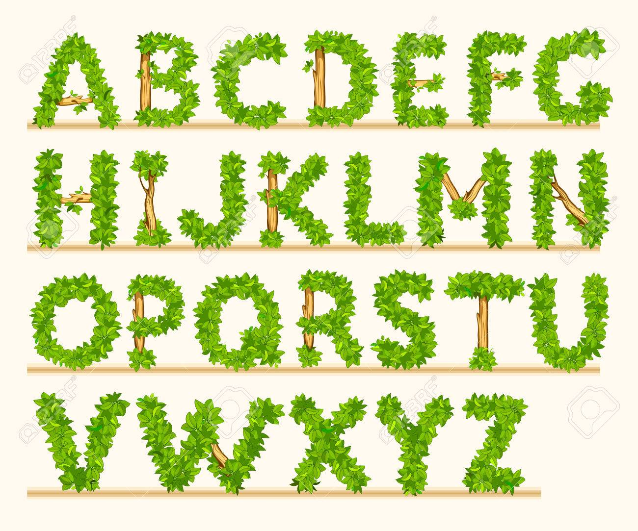 Stylized font of green leaves and branches - 36565184