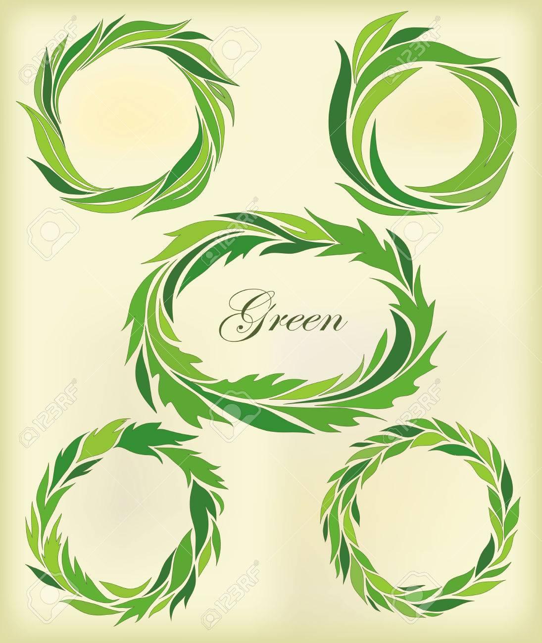 Image Pour Mettre Dans Un Cadre mettre en place un cadre de feuille verte stylisée