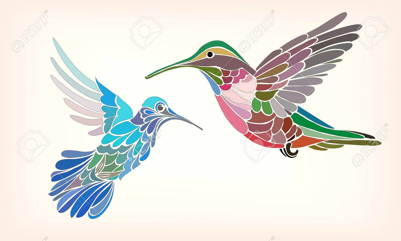 Two hummingbirds in stylized vector illustration on a light background - 48320296
