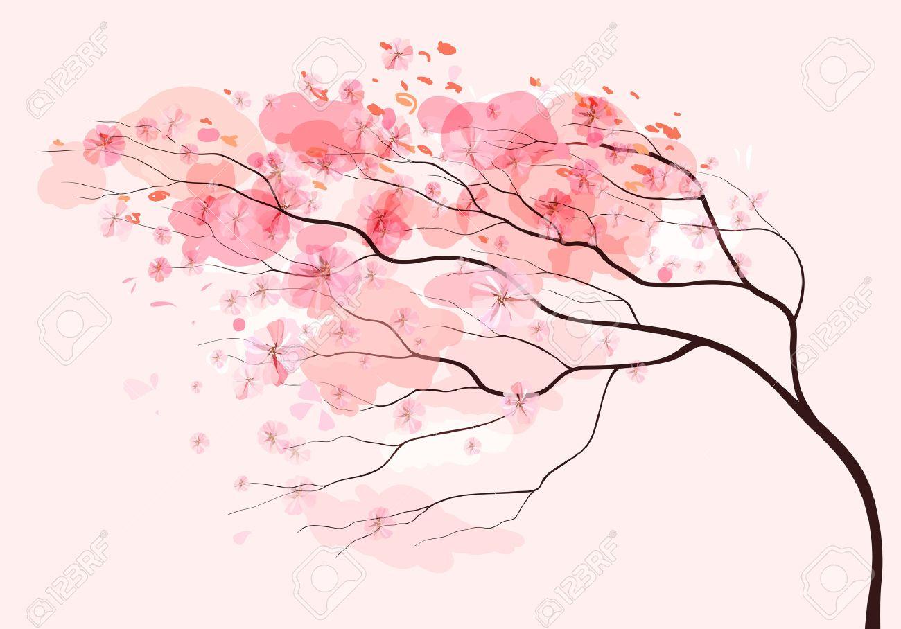 Sakura branch, spring beautiful floral pink background - 50916862
