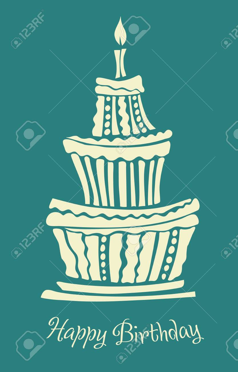 Stylized Large Birthday Cake In Graphic Style Royalty Free Cliparts