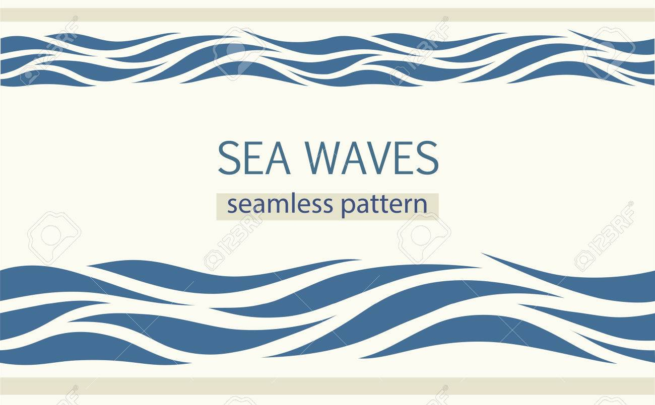 Seamless patterns with stylized sea waves vintage style. - 65859634