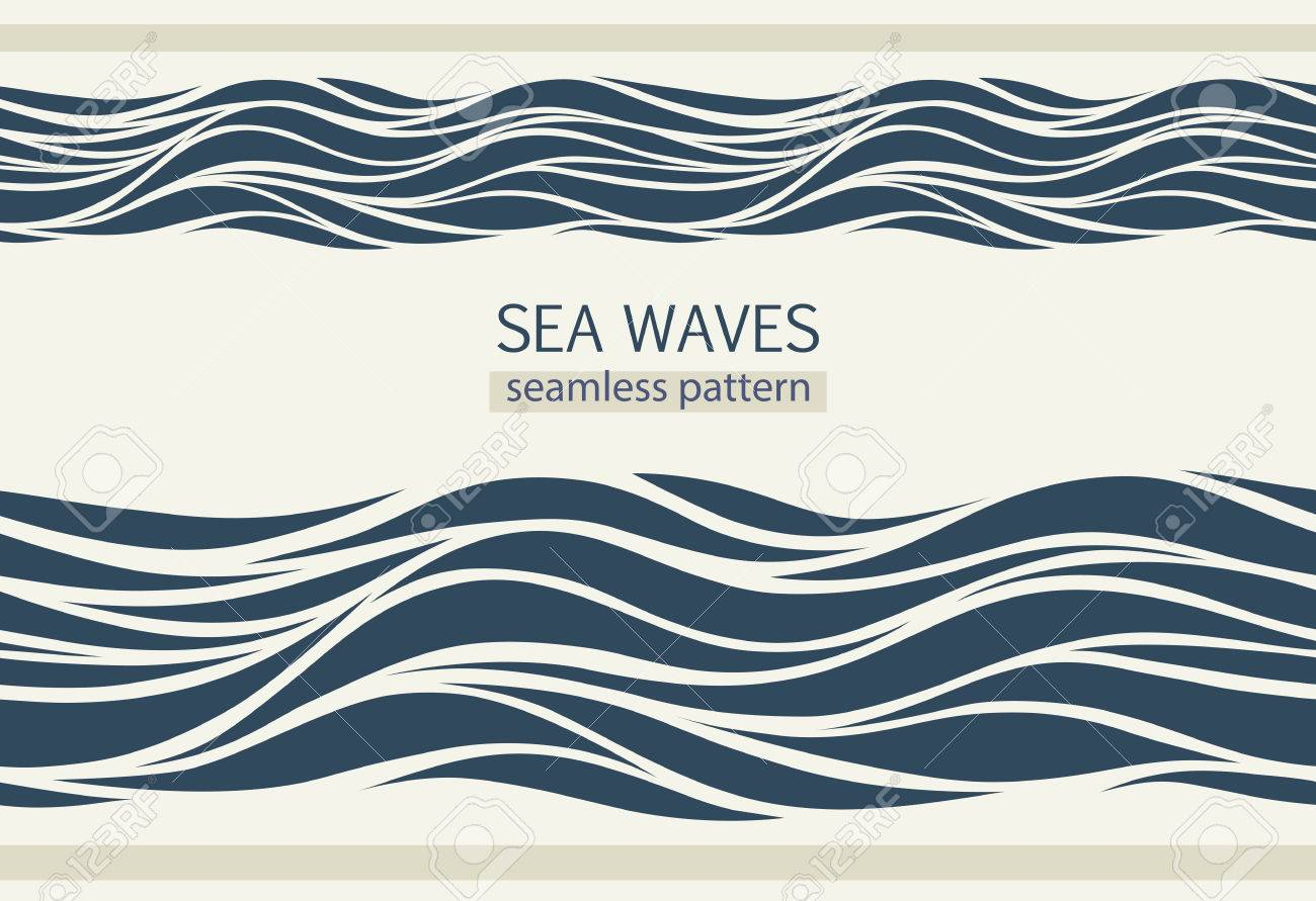 Seamless patterns with stylized waves vintage style - 65841516