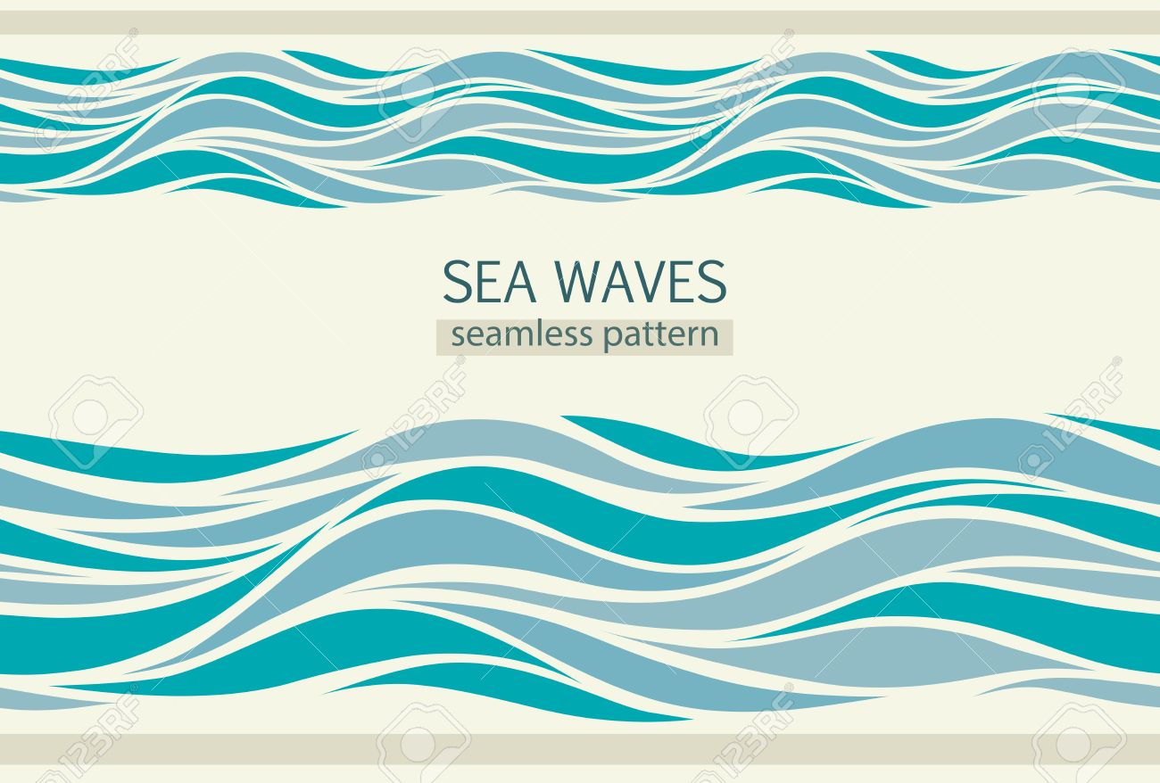 Seamless patterns with stylized waves vintage style - 65859637